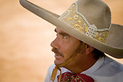 31 AUGUST 2007 -- PHOENIX, AZ: A competitor at the Congreso y Campeonato Nacional Charro in Phoenix, AZ, Friday, August 31. The event is the US championship for the Mexican Federacion Mexicana de Charreria. The winners of the US championship go on to compete in the Mexican Charreada championships in Morelia, Michoacan, Mexico in October. Charreadas are Mexican style rodeos that are popular in Mexican communities throughout the US. As the Mexican immigrant community has expanded throughout the US, the sport has expanded with it. Charreadas are now held as far north as Minnesota and along the US - Mexico border.   Photo by Jack Kurtz