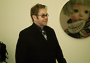Sir Elton John. Mika Kato, Martin Kobe and Masako Ando  private view. White Cube, 48 Hoxton Square, London, 20 January 2005. <br />