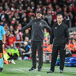 Jurgen Klopp coach of Liverpool during the Champions League match between Liverpool and Paris Saint Germain at Anfield on September 18, 2018 in Liverpool, England. (Photo by Anthony Dibon/Icon Sport)