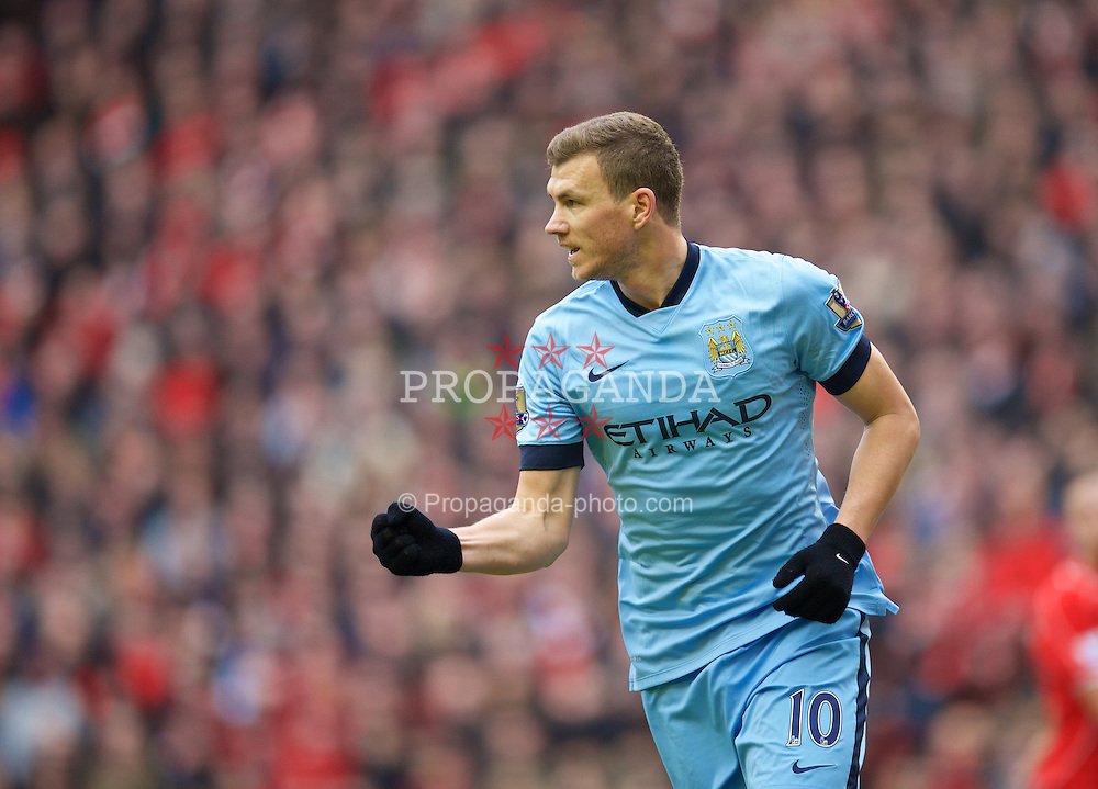 LIVERPOOL, ENGLAND - Sunday, March 1, 2015: Manchester City's Edin Dzeko celebrates scoring the first equalising goal against Liverpool to level the score at 1-1 during the Premier League match at Anfield. (Pic by David Rawcliffe/Propaganda)