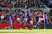 Middlesbrough forward Ashley Fletcher (18) shoots over the bar during the EFL Sky Bet Championship match between Middlesbrough and Stoke City at the Riverside Stadium, Middlesbrough, England on 19 April 2019.