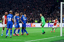 Ryan Babel #49 of Ajax and Mathías Olivera #17 of Getafe scores in own goal during the Europa League match R32 second leg between Ajax and Getafe at Johan Cruyff Arena on February 27, 2020 in Amsterdam, Netherlands