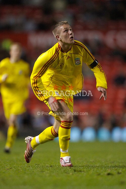 Manchester, England - Thursday, April 26, 2007: Liverpool's Lee Woodward in action against Manchester United during the FA Youth Cup Final 2nd Leg at Old Trafford. (Pic by David Rawcliffe/Propaganda)