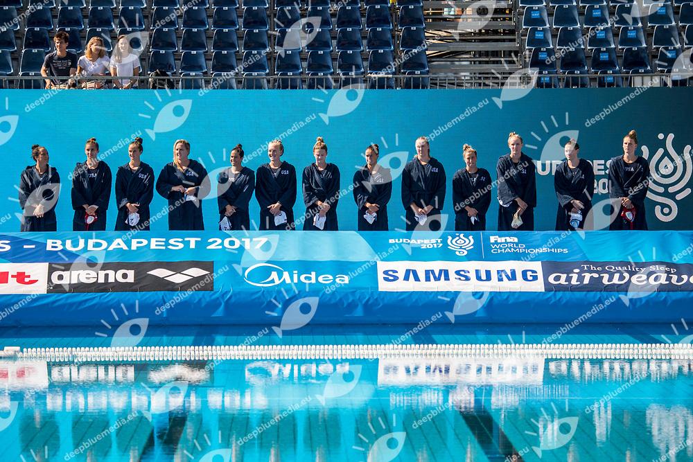 Team USA United States  <br /> USA (white cap) -  ESP (blue cap)<br /> Preliminary Round Water Polo Women<br /> Day05  18/07/2017 <br /> XVII FINA World Championships Aquatics<br /> Alfred Hajos Complex Margaret Island  <br /> Budapest Hungary <br /> Photo @ Deepbluemedia/Insidefoto