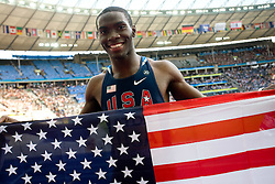 Kerron Clement of USA celebrates winning the gold medal in the men's 4x400 Metres Relay Final during day nine of the 12th IAAF World Athletics Championships at the Olympic Stadium on August 23, 2009 in Berlin, Germany. (Photo by Vid Ponikvar / Sportida)
