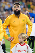 March 28 2017: Socceroos Mile JEDINAK (15) before kick-off at the 2018 FIFA World Cup Qualification match, between The Socceroos and UAE played at Allianz Stadium in Sydney.