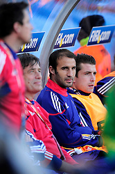 France coaching staff on the bench during the 2010 World Cup Soccer match between South Africa and France played at the Freestate Stadium in Bloemfontein South Africa on 22 June 2010.