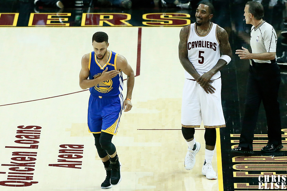 07 June 2017: Golden State Warriors guard Stephen Curry (30) celebrates next to Cleveland Cavaliers guard JR Smith (5) during the Golden State Warriors 118-113 victory over the Cleveland Cavaliers, in game 3 of the 2017 NBA Finals, at  the Quicken Loans Arena, Cleveland, Ohio, USA.