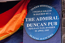 London, UK. 30th April 2019. A plaque outside the Admiral Duncan pub in Old Compton Street, Soho, recalls the Admiral Duncan bombing, when three people were killed and 79 injured by a bomb packed with up to 1,500 four-inch nails which was detonated by a neo-Nazi on 30th April 1999.
