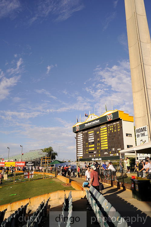 Earmarked for demolition to make way for luxury apartments, the old scoreboard at the Western Australian Cricket Association (WACA) ground remains one of the best in Australia. Australia vs England Test Match, 17th December, 2010. Perth, Western Australia