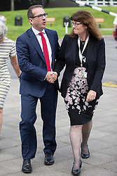 © Licensed to London News Pictures . 15/08/2016 . Salford , UK . Labour leadership candidate OWEN SMITH arrives and is greeted by University Vice Chancellor HELEN MARSHALL (r) to deliver a speech on the National Health Service , at the Mary Seacole Building at Salford University . Photo credit : Joel Goodman/LNP