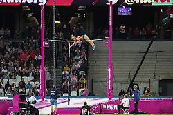 London, 2017-August-04. A women's pole-vaulter clears the bar during the elimination rounds at the IAAF World Championships London 2017. Paul Davey.