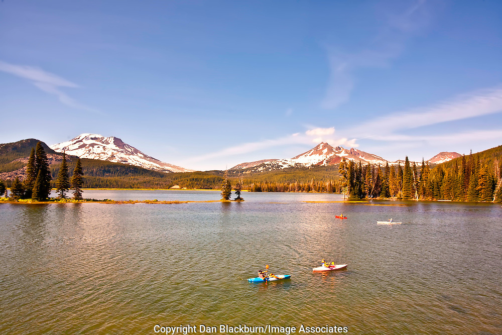 Kayaking on Sparks Lake in Oregon's Cascade Mountains Beneath South Sister & Brokentop Mountain