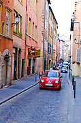 Narrow street in old town Vieux Lyon, France (UNESCO World Heritage Site)
