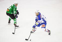 Maks Selan (HDD Olimpija), Nico Brunner (EC VSV) during ice-hockey match between HDD Olimpija Ljubljana and EC VSV in EBEL League 2016/17, on February 19, 2017 in Hala Tivoli, Ljubljana, Slovenia. Photo by Vid Ponikvar / Sportida