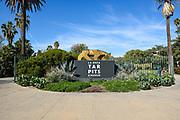 La Brea Tar Pits Gold Tiger Sculpture Monument