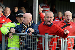 Doncaster fans air there frustration in the crowd after the FA cup tie is called off due to pitch condition  - Photo mandatory by-line: Alex James/JMP - Mobile: 07966 386802 - 08/11/2014 - SPORT - Football - Weston-super-Mare - Woodspring Stadium - Weston-super-Mare v Doncaster - FA Cup - Round One