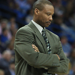 02 February 2009: New Orleans Hornets coach Byron Scott looks down with concern for guard Chris Paul (not pictured) who was injured on a play during a 97-89 loss by the New Orleans Hornets to the Portland Trail Blazers at the New Orleans Arena in New Orleans, LA.