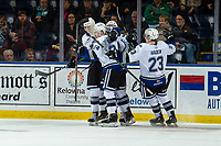 KELOWNA, BC - NOVEMBER 6:  The Victoria Royals celebrate a goal against the Kelowna Rockets at Prospera Place on November 6, 2019 in Kelowna, Canada. (Photo by Marissa Baecker/Shoot the Breeze)