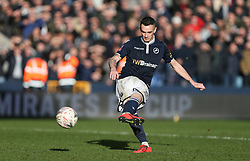 Shaun Williams of Millwall scores his penalty - Mandatory by-line: Arron Gent/JMP - 17/03/2019 - FOOTBALL - The Den - London, England - Millwall v Brighton and Hove Albion - Emirates FA Cup Quarter Final