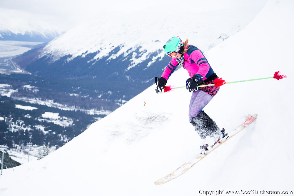 Brooke Edwards. Female skiers enjoying a day of skiing at Alyeska Resort in Girdwood, Alaska as part of the  Get the Girls Out campaign organized by SheJumps.