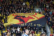 Picture by David Horn/Focus Images Ltd +44 7545 970036<br /> 14/12/2013<br /> A large Watford FC Flag before the Sky Bet Championship match at Vicarage Road, Watford.