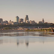 Panorama photo of Kansas City Missouri skyline in the morning, view from Kaw Point Park in Kansas City, Kansas.