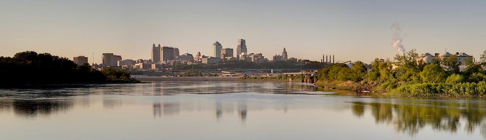 Panorama photo of Kansas City Missouri skyline in the morning, view from Kaw Point Park in Kansas City, Kansas.