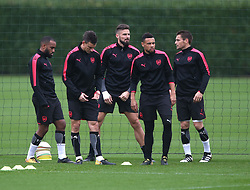18 October 2017 London Colney: Arsenal Football Club training session: the french contingent (l to r) Alexandre Lacazette, Laurent Koscielny, Olivier Giroud, Francis Coquelin and Mathieu Debuchy.<br /> Photo: Mark Leech