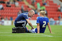 Ipswich Town's Jonathan Parrlays injured- photo mandatory by-line David Purday JMP- Tel: Mobile 07966 386802 02/08/14 - Leyton Orient v Ipswich Town - SPORT - FOOTBALL - Pre season - London -  Matchroom Stadium