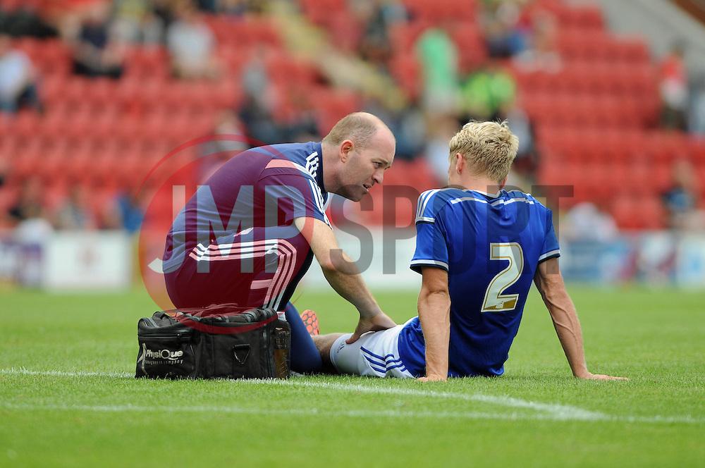 Ipswich Town's Jonathan Parrlays injured- photo mandatory by-line David Purday JMP- Tel: Mobile 07966 386802 02/08/14 - Leyton Orient v Ipswich Town - SPORT - FOOTBALL - Pre season - London -  Matchroom Stadium