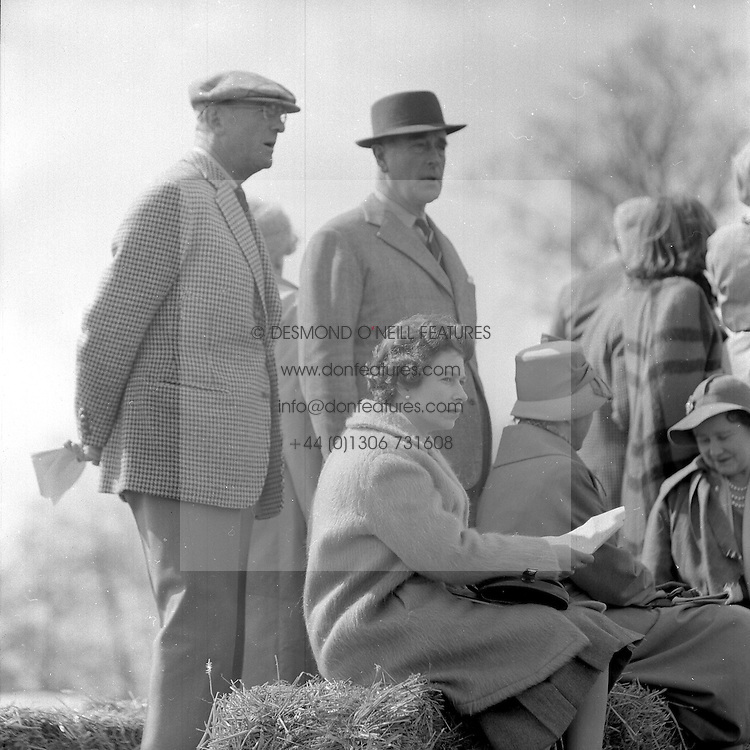 HM The Queen Elizabeth II with the 10th Duke of Beaufort and Earl Mountbatten  at the Badminton Horse Trials, Gloucestershire on 13th April 1962