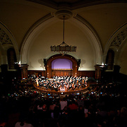"May 21, 2011 - Manhattan, NY : The Wordless Music Orchestra, lead by conductor Brad Lubman, performs the New York Premiere of Philip Glass's 'Symphony No. 4, ""Heroes""' (1996) at the New York Society for Ethical Culture on Saturday night...CREDIT: Karsten Moran for The New York Times"