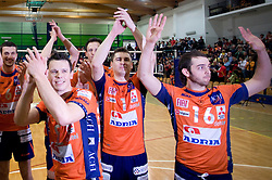 Matija Plesko, Andrej Flajs and Anel Perez of ACH celebrate at last final volleyball match of 1.DOL Radenska Classic between OK ACH Volley and Salonit Anhovo, on April 21, 2009, in Arena SGS Radovljica, Slovenia. ACH Volley won the match 3:0 and became Slovenian Champion. (Photo by Vid Ponikvar / Sportida)