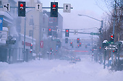 Alaska. Fairbanks. Blowing snow at South Cushman St.