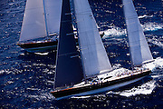 Sojana and Axia sailing during the 2011  St. Barths Bucket Regatta Race 3.