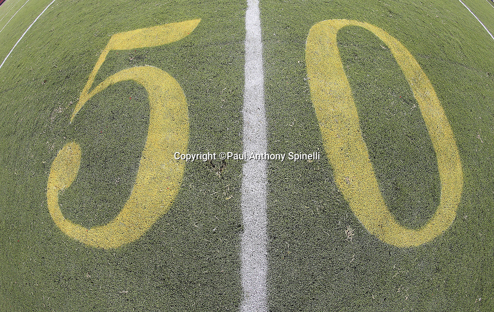 The mid-field 50 yard line marker is painted on the field in this wide angle, general view photograph taken from field level after the San Francisco 49ers 2015 NFL week 1 regular season football game against the Minnesota Vikings on Monday, Sept. 14, 2015 in Santa Clara, Calif. The 49ers won the game 20-3. (©Paul Anthony Spinelli)