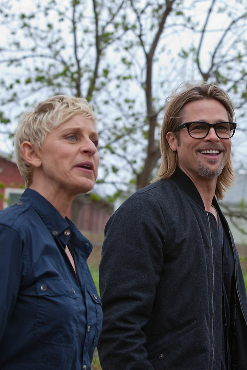 """Brad Pitt on a walking with   Ellen DeGeneres  on a tour through the """" Make it Right """" housing project in the Lower 9th Ward of New Orleans the day before a star-studded fundraising dinner  being held in New Orleans for his foundation."""