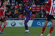 Rushian Hepburn-Murphy (18) during the EFL Sky Bet League 1 match between Lincoln City and Tranmere Rovers at Sincil Bank, Lincoln, United Kingdom on 14 December 2019.
