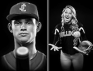John Carroll Catholic High School catcher Jarrett O'Leary is the 2015 Treasure Coast Newspapers All-Area Baseball Player of the Year, and South Fork High School's Kayli Gebhardt is the All-Area Softball Player of the Year. They are photographed at the Treasure Coast Newspapers offices in Stuart on May 19 and 21, 2015. Go to TCPalm.com to see more photos. (XAVIER MASCAREÑAS/TREASURE COAST NEWSPAPERS)