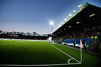 Fotball , 12. april 2019 , Eliteserien , Strømsgodset - Mjøndalen<br /> ilustrasjon ,  Godsetunionen , , publikum , fan , fans , ÆLV CLASSICO ,  , tifo , Marienlyst stadion , tribune