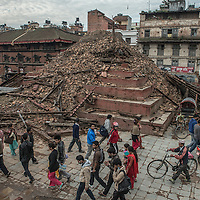 a collapse temple in Kathmandu, Nepal 27 april 2015 following the devastating 7.9 magnitude earthquake that hit the country 25 April 2015.