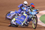 Artem Laguta in front as Fredrik Lindgren challenges during the 2019 Adrian Flux British FIM Speedway Grand Prix at the Principality Stadium, Cardiff, Wales on 21 September 2019.
