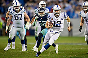 NASHVILLE, TN - DECEMBER 30:  Andrew Luck #12 of the Indianapolis Colts looks runs the ball during a game against the Tennessee Titans at Nissan Stadium on December 30, 2018 in Nashville, Tennessee.  The Colts defeated the Titans 33-17.   (Photo by Wesley Hitt/Getty Images) *** Local Caption *** Andrew Luck