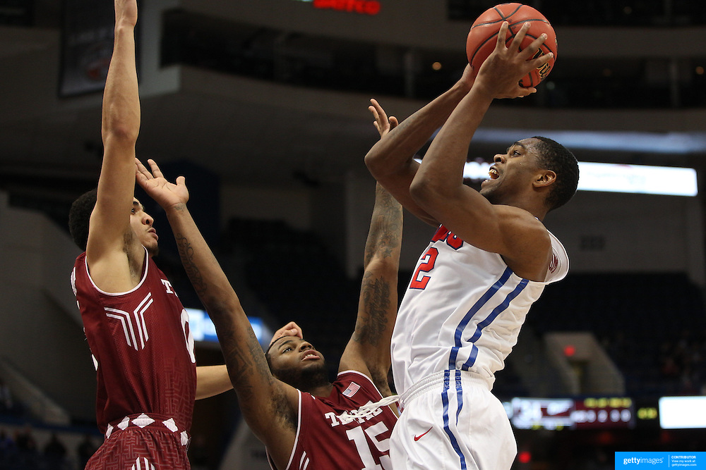 Yanick Moreira, SM, shoots over Jaylen Bond, Temple,  during the Temple Vs SMU Semi Final game at the American Athletic Conference Men's College Basketball Championships 2015 at the XL Center, Hartford, Connecticut, USA. 14th March 2015. Photo Tim Clayton