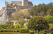 Garden of historic castle medieval village of Marvão, Portalegre district, Alto Alentejo, Portugal, Southern Europe