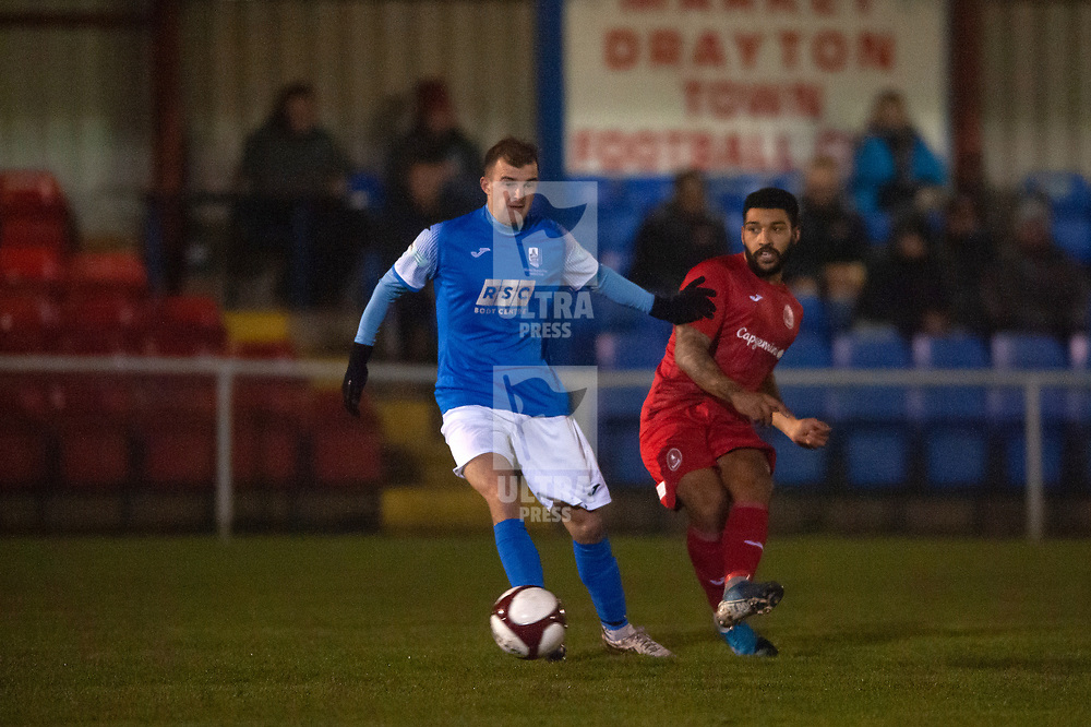 TELFORD COPYRIGHT MIKE SHERIDAN Ellis Deeney of Telford during the friendly fixture between AFC Telford United and Market Drayton Town at Greenfields on Tuesday, January 21, 2020.<br /> <br /> Picture credit: Mike Sheridan/Ultrapress<br /> <br /> MS201920-041