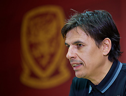 CARDIFF, WALES - Friday, November 11, 2016: Wales' manager Chris Coleman during a press conference at Cardiff City Stadium ahead of the 2018 FIFA World Cup Qualifying Group D match against Serbia. (Pic by David Rawcliffe/Propaganda)