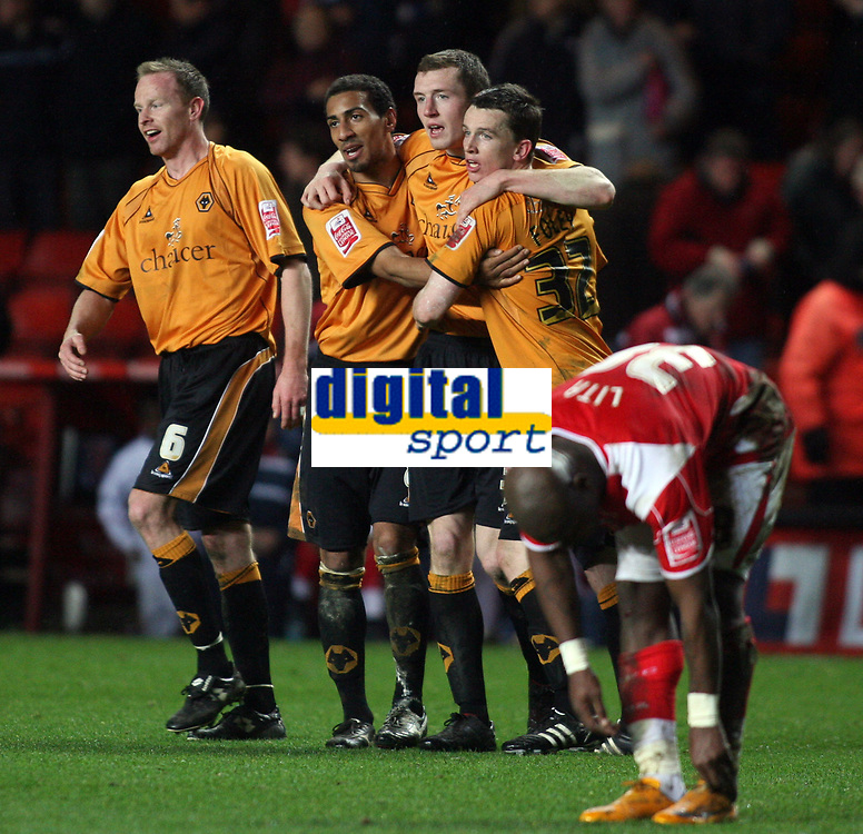 London, England - Saturday, March 29th, 2008: Wolverhampton Wanderers' Karl Henry (second left) celebrates scoring the winning goal against Charlton Athletic during the Coca Cola Championship match at The Valley. (Pic by Chris Ratcliffe/Propaganda)