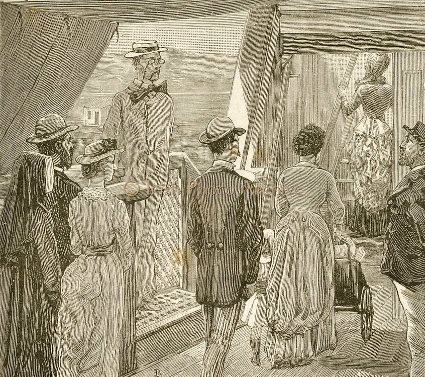 Outbreak of Cholera in France: the doctor's parade in the quarantine station outside Marseilles. During the first week  of July 1884 the mortality rate in Marselles was 24 per day Engraving.